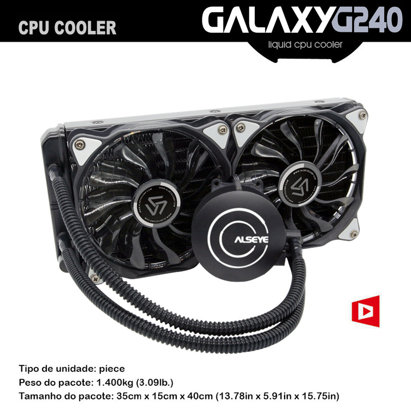 ALSEYE Galaxy 240 Water Cooling CPU Water Cooler for e5450 i7 6400t AM4 TDP 300W PWM