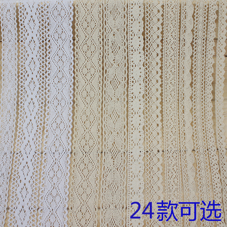 10mm 20mm 25mm 40mm Beige White Black Crocheted Cotton Lace Ribbon DIY Handmade Crafts Fabric Apparel Sewing Decoration Lace