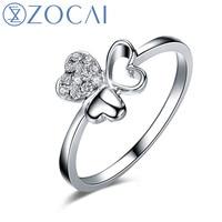 ZOCAI 100% натуральный 0,08 карат бриллиантовое кольцо 18 K из белого золота с бриллиантами обручальное кольцо W05892