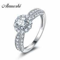 AINOUSHI 2017 New Luxury Floral Round Halo Style Shank SONA Wedding Ring 925 Sterling Silver Fancy Flower nscd Ring