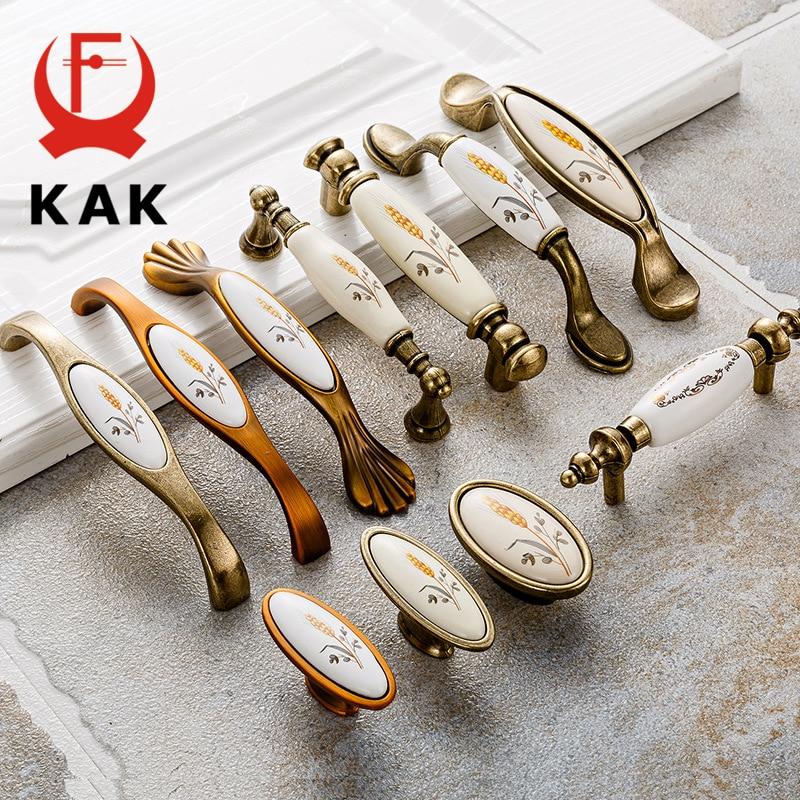 KAK Antique Bronze Ceramic Cabinet Handles Zinc Alloy Drawer Knobs Pulls Wardrobe Door Handle European Furniture Handle Hardware