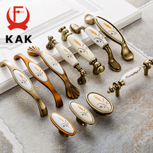 цена на KAK Antique Bronze Ceramic Cabinet Handles Zinc Alloy Drawer Knobs Pulls Wardrobe Door Handle European Furniture Handle Hardware