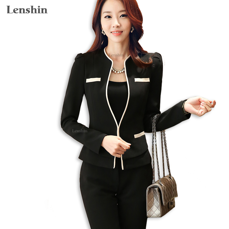 Lenshin 2 Piece Sets Pant Suit Formal Lady Office Uniform Designs Woman Business Suits Elegant Work Wear Jacket With Trousers