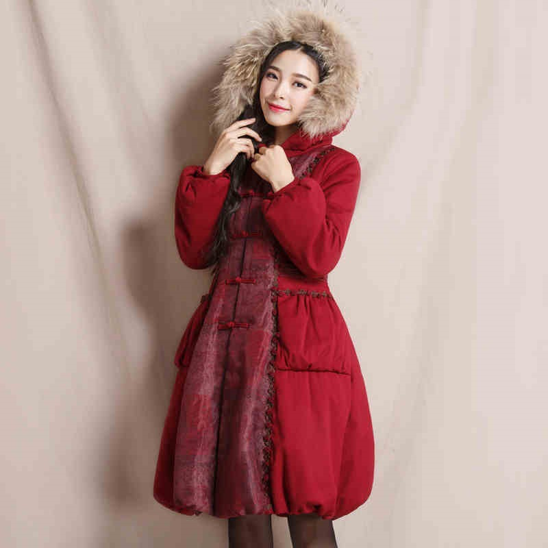 Cotton-padded Coat 2016 Winter New Fashion Women's Elegant Vintage Outwear Slim Single Breasted Fur Collar Hooded Padded Jackets free shipping boruoss 2015 new fashion winter cotton coat women short single breasted coat boruoss w1292