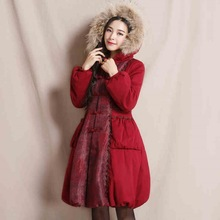 Cotton padded Coat 2016 Winter New Fashion Women s Elegant Vintage Outwear Slim Single Breasted Fur