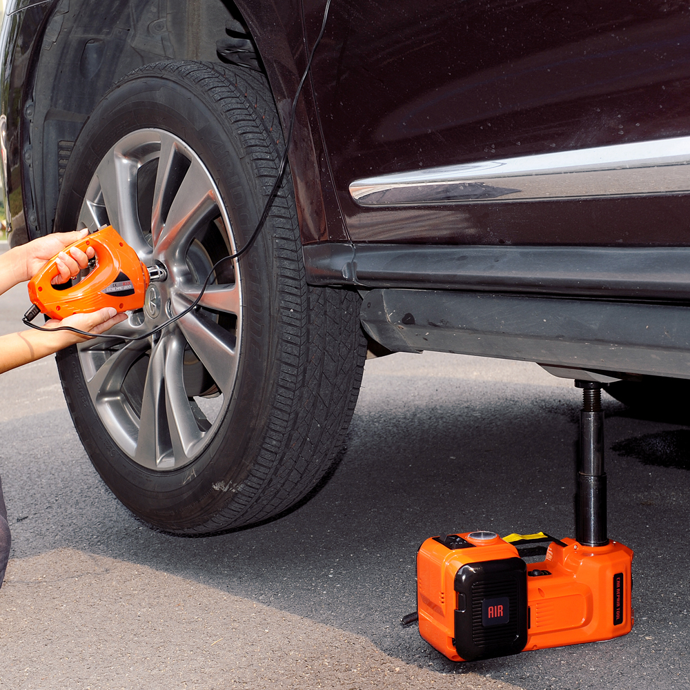 12v 5Tons Electric Hydraulic Floor Jack  Roadside Tire Change Tool Car Jack Kit With Impact Wrench And Air Pump