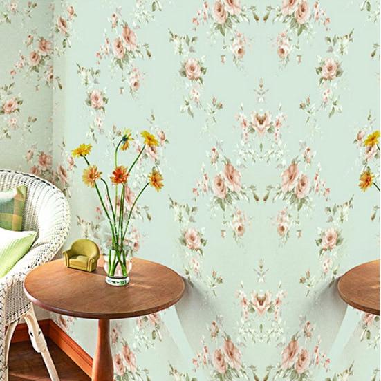 wallpaper vintage green flower designs in whole bedroom