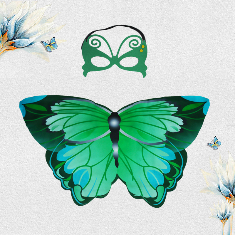 SPECIAL Fairy Gereen Butterfly Wings Mask Costume Carnival Party Dress Up Original Costumes Masquerade Birthday Gifts Of Nephew