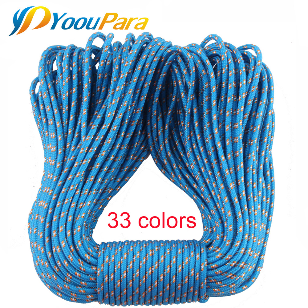 50FT 3mm Paracord 33 Color Parachute Cord Rope 1 Strand Paracorde Outdoor Survival Equipment Clothes Line DIY Paracord Bracelet