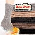 1 pares de otoño/invierno de espesor de lana de Conejo calcetines de los hombres de gama alta de doble aguja calcetines de lana de conejo Mantener el calor espeso