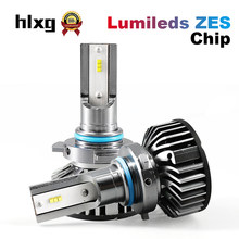 HLXG 1pair 9005 HB3 Car Headlights HB4 9006 Led With Lumileds ZES Chips 12000LM Auto Led Lights 6000K 12V(China)