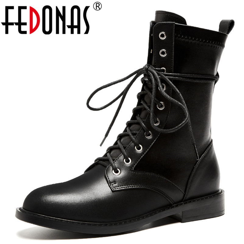 FEDONAS Punk Sexy Black Women Ankle Boots Genuine Leather High Heels Autumn Winter Motorcycle Boots Low Heels Martin Shoes Woman women martin boots 2017 autumn winter punk style shoes female genuine leather rivet retro black buckle motorcycle ankle booties