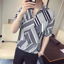 LOLDEAL Summer Five-point Sleeve Shirt Diagonal Stripes V Leader Shirt Men's Casual Fashion Loose Shirt julia peters tang pivot points five decisions every successful leader must make