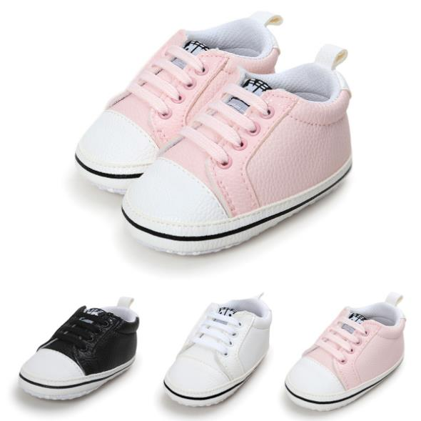 New Pink Casual Infant Soft Sole PU Leather First walkers Crib Brand baby Prewalker lace-up girls Shoes 0-18 Months