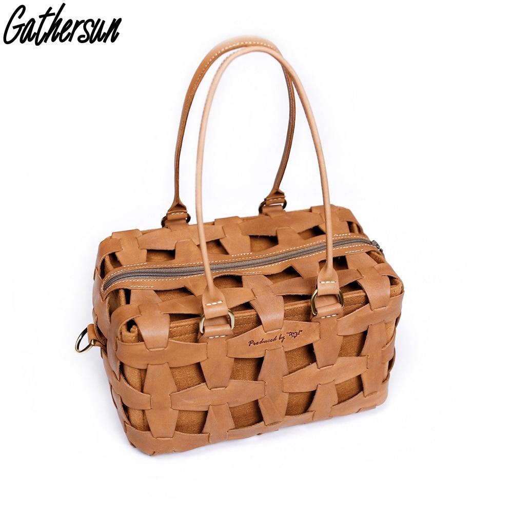 Gathersun летние сумки для женщин 2018 ручной работы из натуральной кожи роскошные сумки для женщин оригинальный дизайн Дамская полая хозяйствен