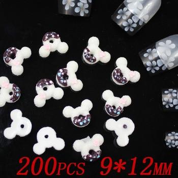 200pcs 12x9mm lovely Mickey head nail jewelry fashion Manicure cartoon nail sticker Маникюр