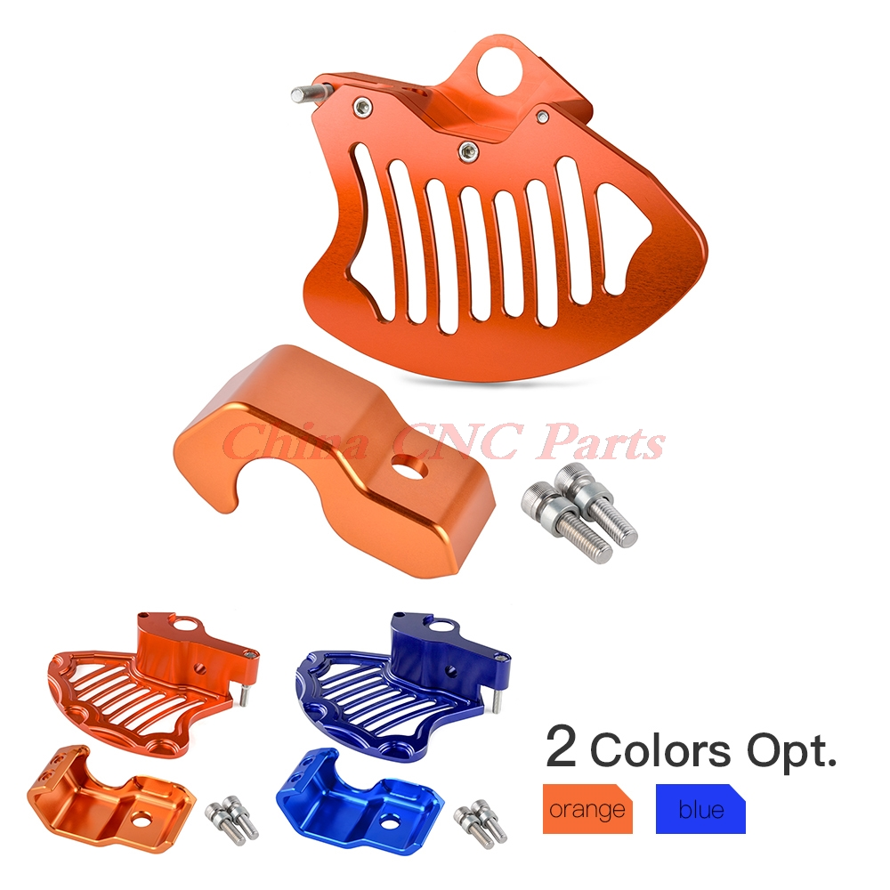 NICECNC Front Rotor Guard & Lower Right Fork Protector For KTM 125 200 250 300 350 450 530 SX SXF XC XCF EXC XCW 2003-2014 right left sides wp fork leg shoe guard protector cover for ktm 125 200 250 300 350 400 450 500 exc sx sxf xc xcf excf excw xcfw