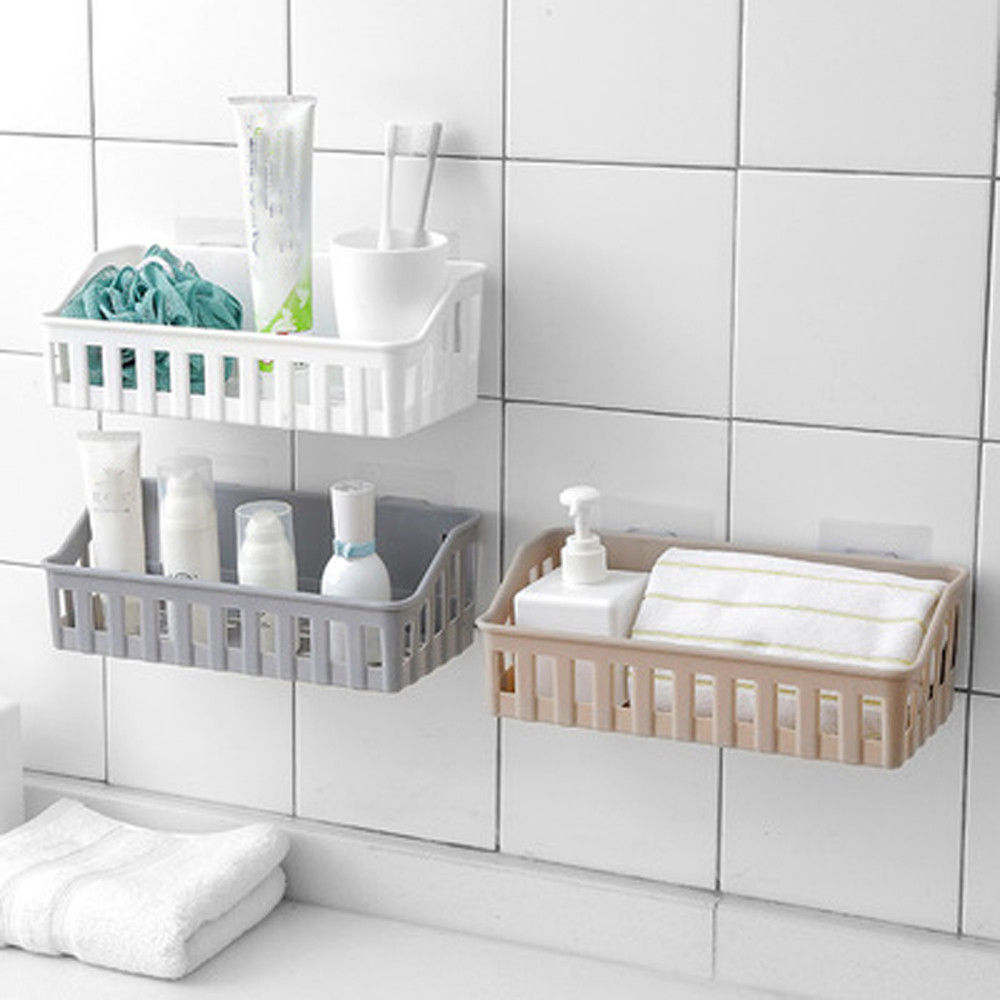 Punch-free bathroom shelf plastic toilet bathroom vanity wall hanging bathroom storage rack basket no trace stickers#sw