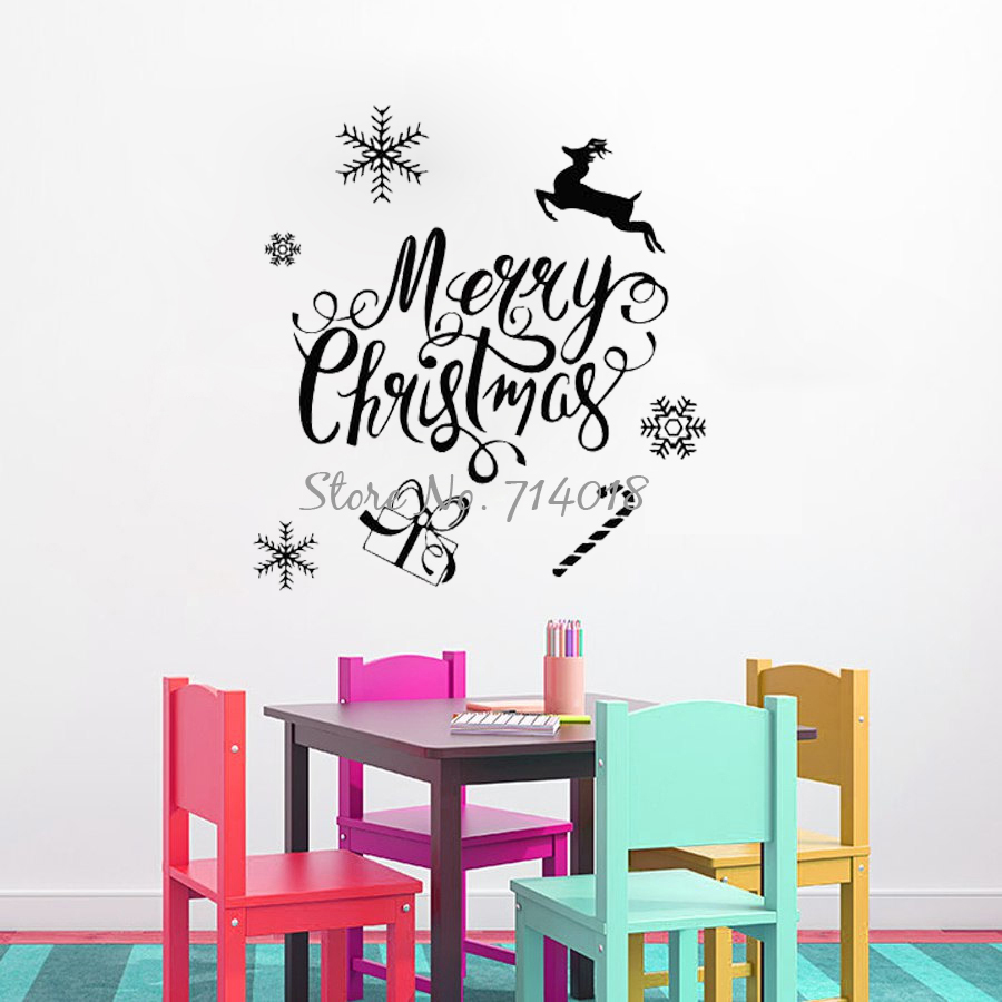 Merry christmas wall decals sticker deer snowflake quotes wall merry christmas wall decals sticker deer snowflake quotes wall stickers vinyl art mural nursery kids room home decor m61 in wall stickers from home garden amipublicfo Gallery
