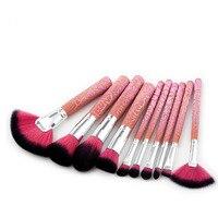 FOCALLURE 10 stks Professionele Makeup Tools Makeup Brush Set Burst Crack Fan Vorm Foundation Poeder Blush Borstel