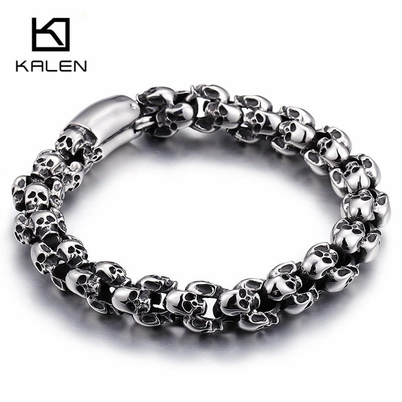 Kalen Punk 22,5 cm largo cráneo pulseras para hombres de acero inoxidable brillante cráneo encanto enlace cadena Brecelets hombre joyería gótica 2018