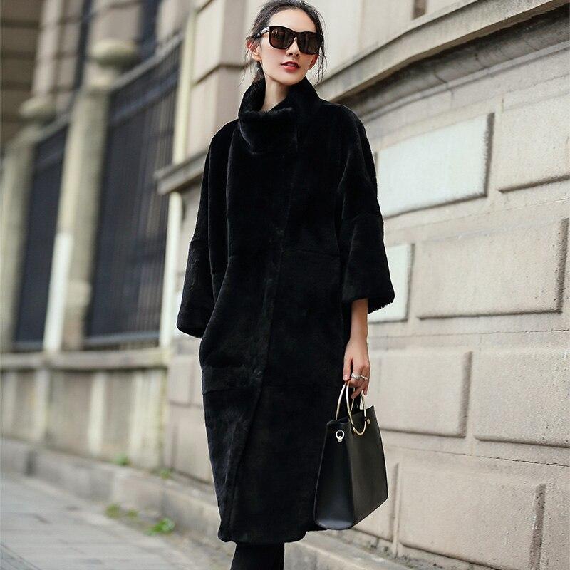 Véritable Long Des Taille Vestes 4xl Chaud Femmes Plus Mf526 Slim Black Top Noir Tonte Manteaux Moutons Yolanfairy Qualité Épais Fourrure dxZ00