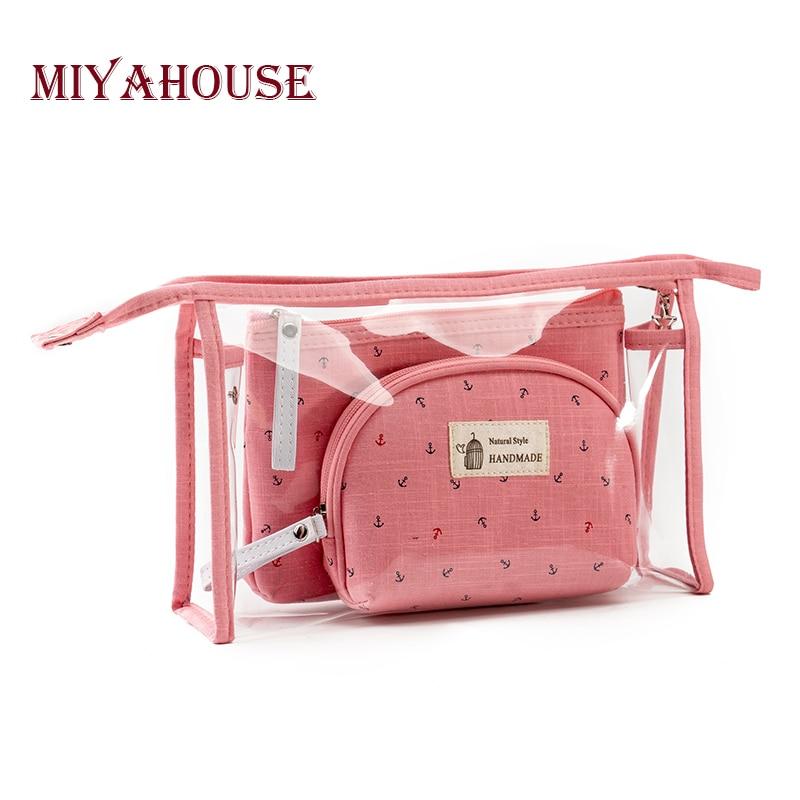 Miyahouse горячая распродажа 3 шт./компл. сумки для макияжа женские желе косметички модные водонепроницаемые прозрачные косметички