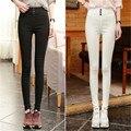 Yono новинка женские брюки тощий высокой талией капри брюки карандаш кнопка уменьшают подходящие тонкие брюки свободного покроя Pantalon роковых горячие твердые
