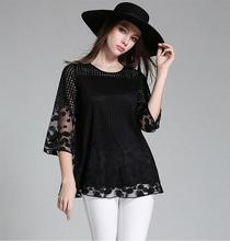 2016 Summer New Women Lace Casual Shirt Loose Sleeve Stitching Mesh Plaid Tops Lace Hollow Fashion Chiffon Blouse XXXXXL