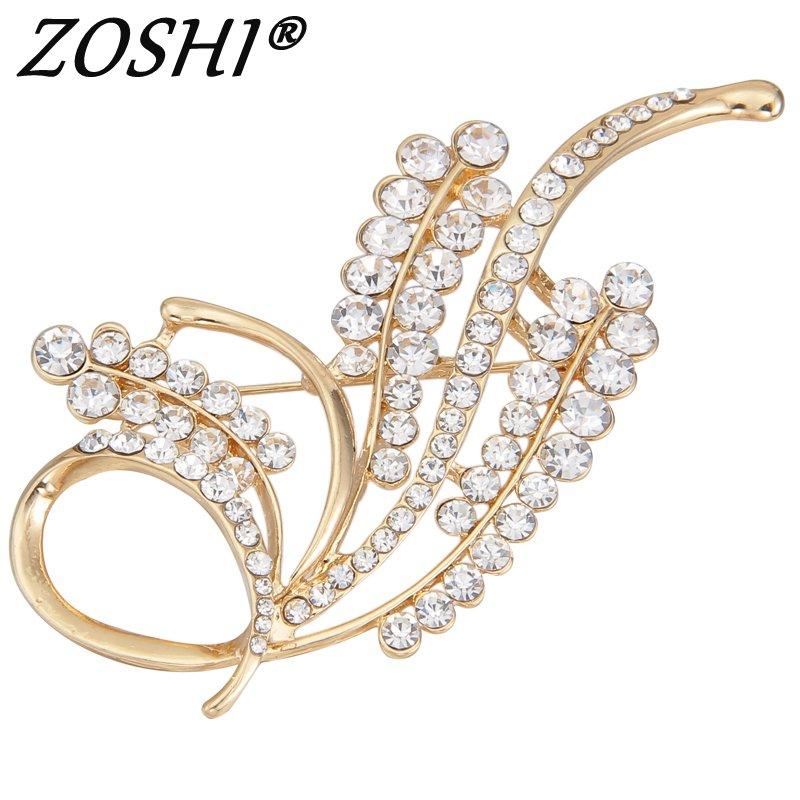 Fashion Brooch Pins White Rhinestone Crystal Flower Bridal Gold Tone Brooch Pins For Wedding Wholesale Bridal Jewelry