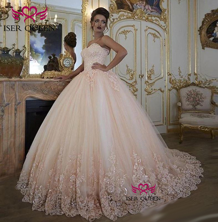 Delicate Embroidered Lace On Net Appliques Sequined Strapless Champagne Ball Gown Tiered Tulle Wedding Dresses 2019 W0348