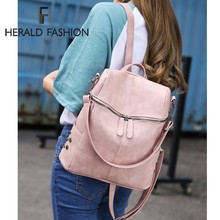 Herald Fashion Women Backpack Quality Leather School Bags For Teenager Girls  Large School Backpack Vintage Solid f093df2ebe499