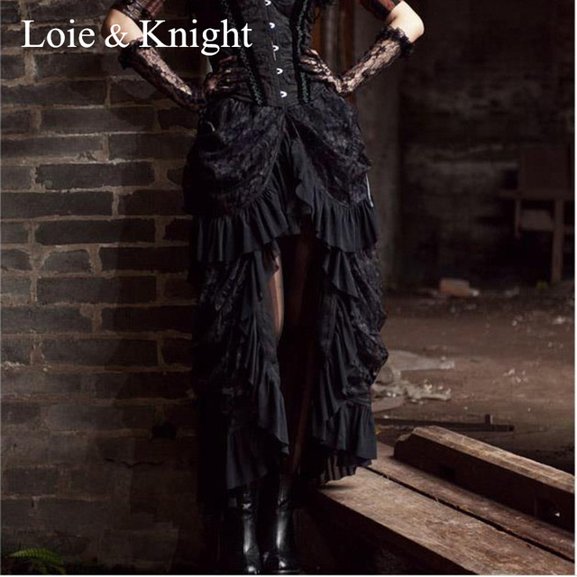 d412ace638 Women Victorian Bustle Inspired Steampunk Gothic Party Black Lace High Low  Ruffle Hem Long Skirt