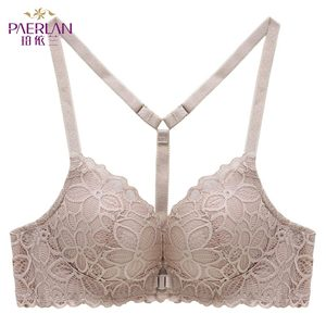 Image 5 - PAERLAN Front Closure Wire Free Lace Floral hit color Seamless bra small chest Push Up Y shaped sexy back beauty underwear Women