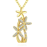 Enchanted Solid Flower Design Beautiful Plant Thin Chain Plating Gold Pendant Necklace