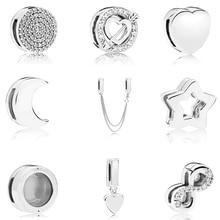 Настоящее бусины из стерлингового серебра 925 очаровательные рефлексионы элегантный зажим с хрустальными бусинами подходят Пандора браслеты для женщин Diy Ювелирные изделия
