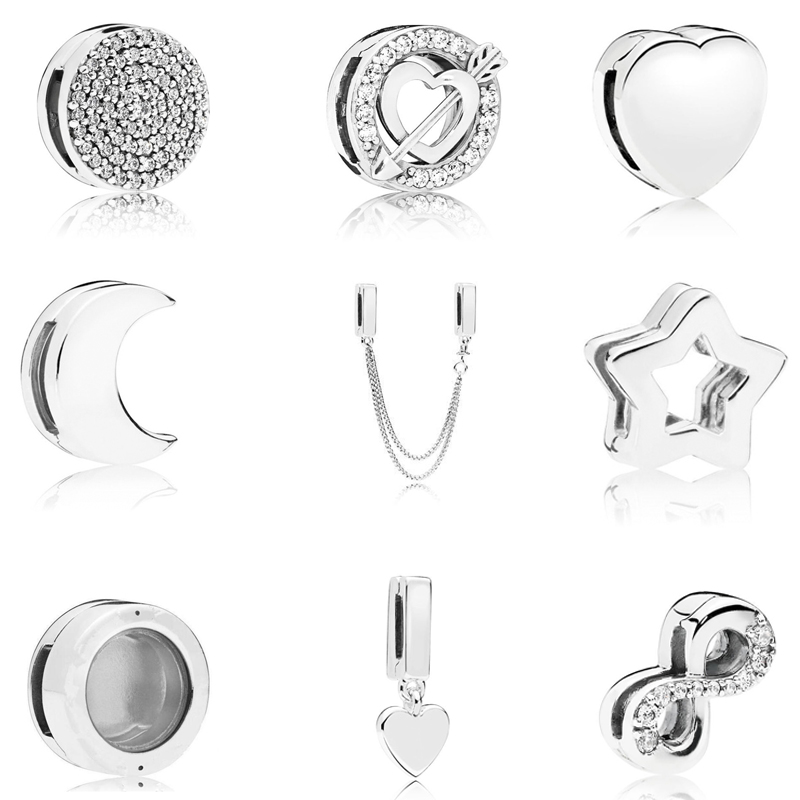 Real 925 Sterling Silver Bead Charm Reflexions Elegance Clip With Crystal Beads Fit Pandora Bracelets Women Diy Jewelry 2019(China)