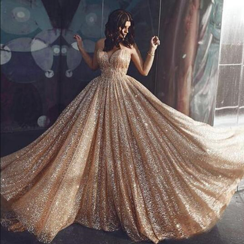 Gorgeous Sequin Robe De Soiree 2019 Champagne Women Vintage Evening Formal Dresses Sexy Spaghetti Strap Backless