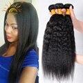 Top Coarse Yaki 7A Mink Brazilian Virgin Hair Kinky Straight Hair Weave 4 Bundles Yaki Straight Human Hair Light Yaki 100g/Pcs