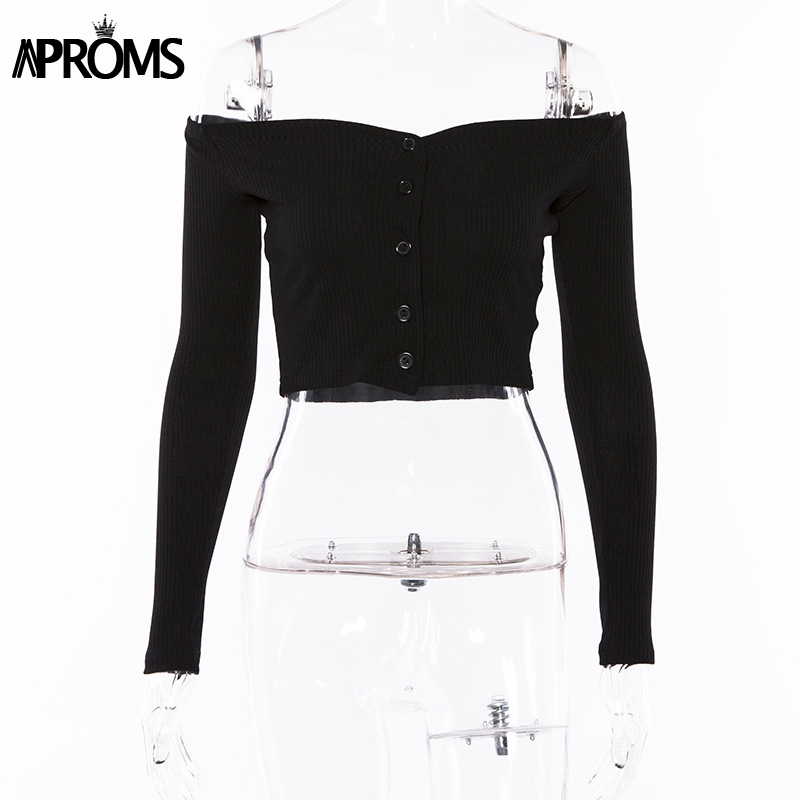 Aproms Off Shoulder Cropped Tank Tops Women Sexy Ribbed Knitted Crop Top Ladies Streetwear Basic Tees