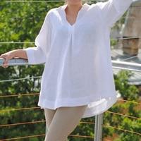 EaseHut 2019 модная женская белая Повседневная летняя блузка и топы больших размеров синяя 3/4 рукав свободная туника женские рубашки Blusa