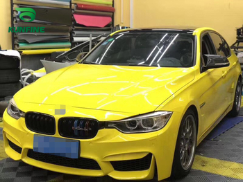 Car Styling Wrap Crystal Lemon yellow Car Vinyl film Body Sticker Car sticker With Air Free Bubble For Motorcycle Car Tuning