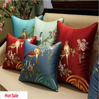 free shipping classical couple birds waist cushion with inner 40x60cm Pillow embroidery sain cushion pillow chair decorate