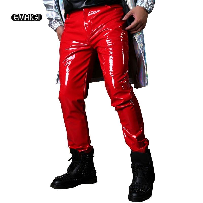 남성 캐주얼 특허 가죽 바지 남성 패션 슬림 맞는 바지 무대 의상 가수 댄스 dj 힙합 옷은 사용자 정의 할 수 있습니다-에서가죽 바지부터 남성 의류 의  그룹 1