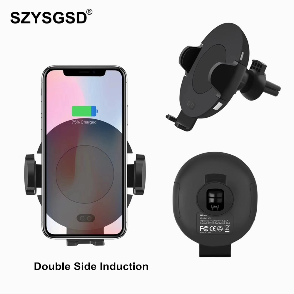 SZYSGSD Automatic Infrared Sensor Car Wireless Charger For iPhone X 8 Plus Car Air Vent Holder For Samsung S9 Double Induction mobile phone car vent holder