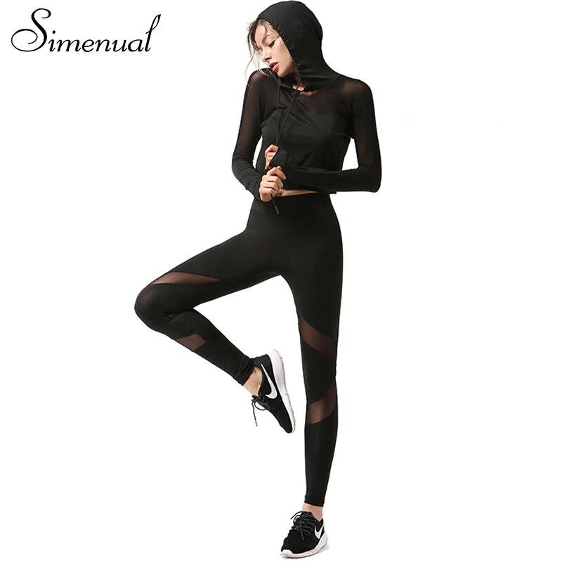 Simenual Mesh splice women s tracksuit two piece set long sleeve black female pants sweatshirt sportswear