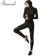 Simenual Сетки сращивания женская костюм из двух частей установить с длинным рукавом черный женские брюки толстовка спортивная костюмы для женщин hot