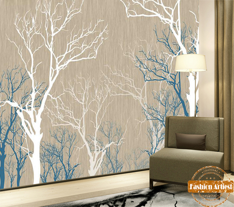 Custom Abstract Autumn Wallpaper Mural Simple Line Blue N White Mystery Forest Tv Sofa Bedroom Living Room Cafe Bar Setting Wall Autumn Wallpaper Wallpaper Muralforest Tv Aliexpress