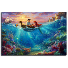 The Little Mermaid Falling in Love Thomas Kinkade Painting Wall Art Living Room Picture Home Decoration Christmas Gifts