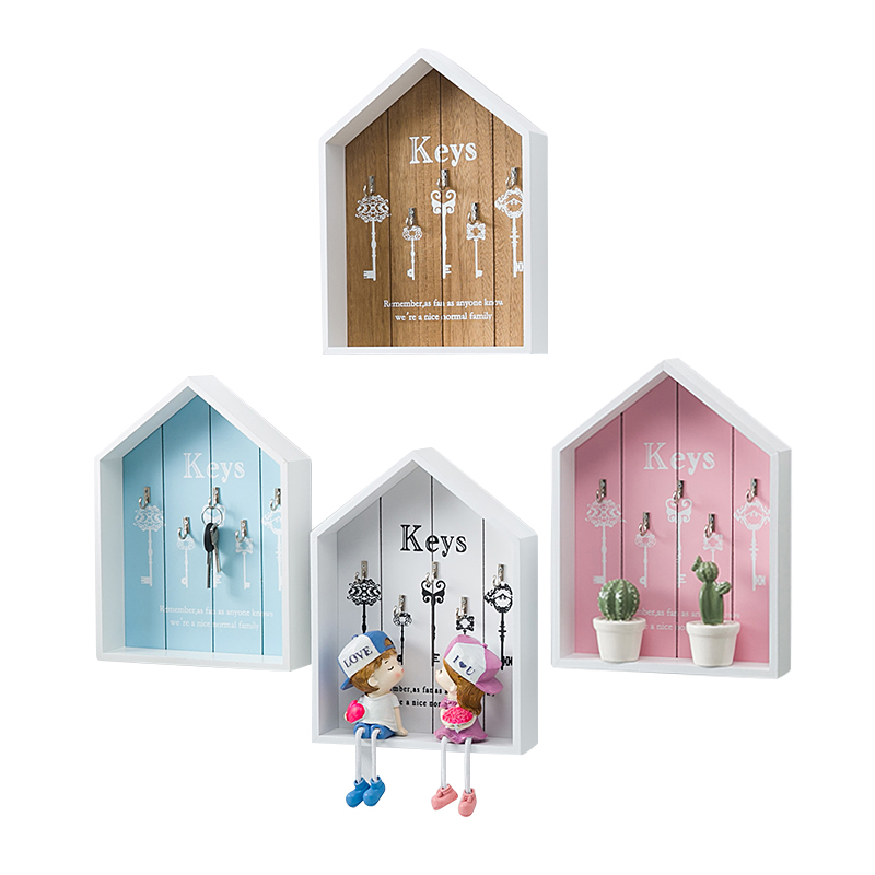 1 pc Home Wall Decorative key Hook Storage Box Living Room Wood Hanging Decor Keys Accessories Storage Shelf